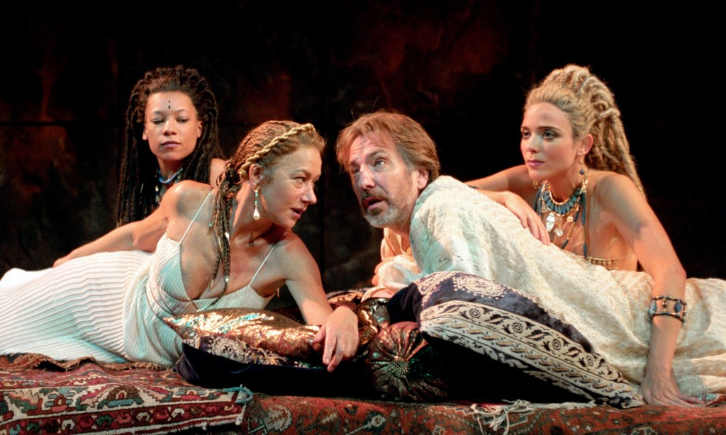 Alan Rickman opposite Helen Mirren in Antony and Cleopatra in 1998 (Source: The Guardian)