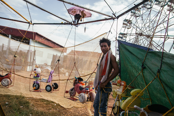 A man is seen at a carnival in Koh Kong, border of Thailand and Cambodia.