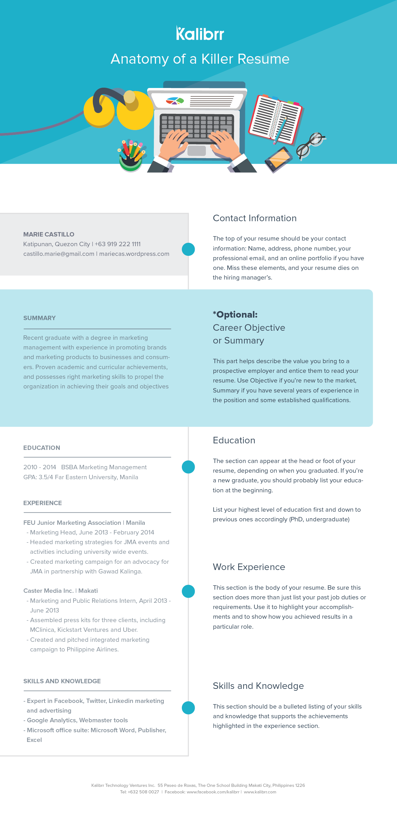 The Anatomy of a Killer Resume INFOGRAPHICKalibrr Career Advice