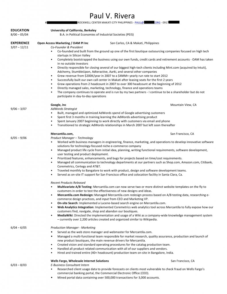 sample format of resume in the philippines