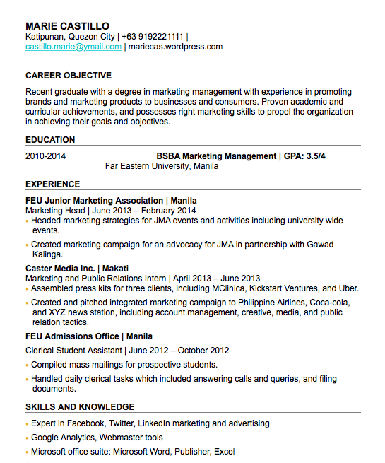 sample of fresh graduate cv