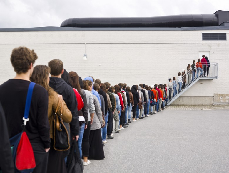 Waiting in line for a job interview